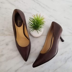 COLE HAAN Nike Air Pumps Pointed Toe Heels Brown